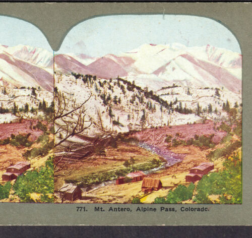 Mt Antero Alpine Pass Tunnel Colorado 1890 Railroad Ghost Town Stereoview Card