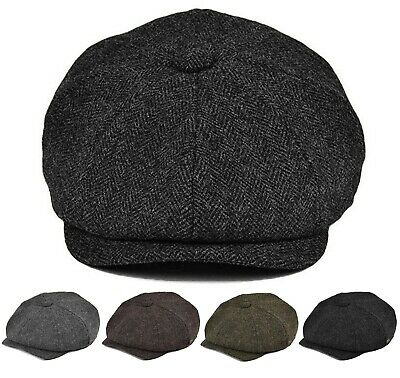 Classic Men's Herringbone Newsboy Hat Wool Applejack Gatsby Driving Cap
