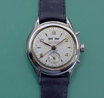 Vintage 40s  BUCHERER Triple Calendar Bumper Automatic Antique Watch