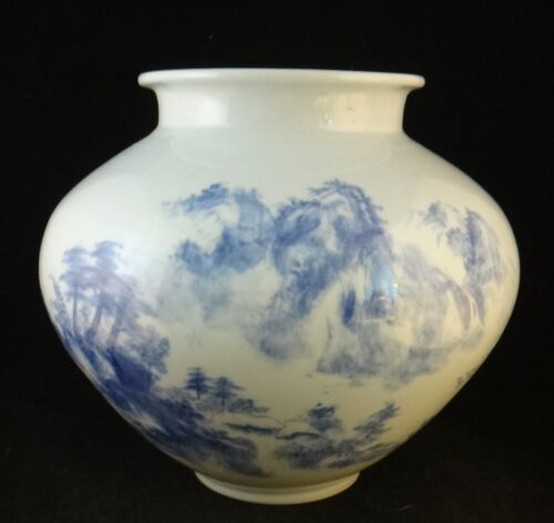 "Vintage Korean Blue & White Porcelain Vase.Signed, 20th cent.,  9 ¾""x 11""."