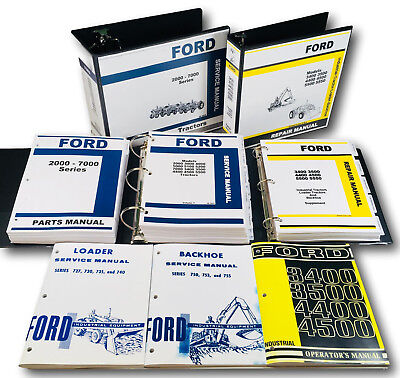 Ford 4400 4500 Backhoe Loader Tractor Service Operator Parts Manual Shop Set
