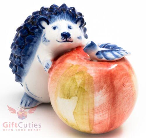 Porcelain Gzhel Figurine of a Hedgehog with a huge colorful apple handmade