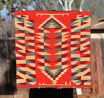 "OLD GERMANTOWN NAVAJO INDIAN WEAVING RUG - INTRICATE COLORFUL DESIGN - 21"" X 21"""