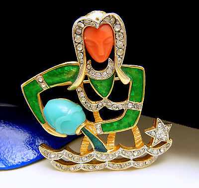 Vintage DeNicola Zodiac Aquarius Brooch Lucite Enamel Rhinestones Water Bearer on Lookza