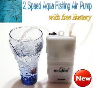 Fishing Live Bait Air Pump Aerator 2 Speed portable Oxygenated + Free D Bettery