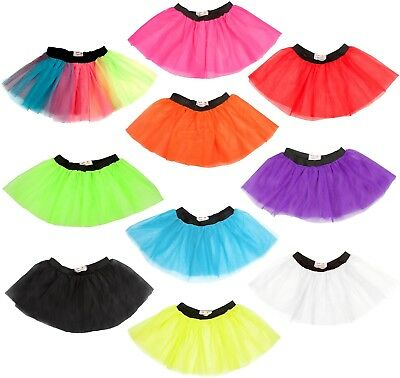 LADIES NEON TUTU SKIRT 3 LAYERS UV 1980S FANCY DRESS HEN PARTY 80s COSTUME DANCE (Neon Tutus)