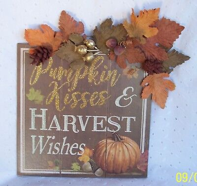 WALL PLAQUE HARVEST WISHES THANKSGIVING ~DECORATION HOME-OFFICE HANGING SIGN