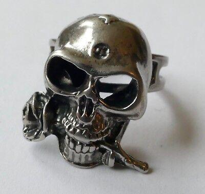 Ring Totenkopf mit einer Rose Metall versilbert Vintage 70er ring silver