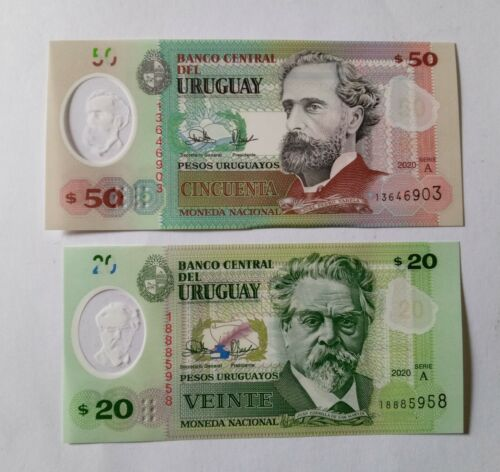 2020 URUGUAY TWO POLYMER  BANK NOTE - 20 AND 50 PESOS  UNC