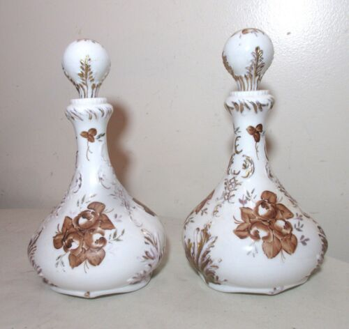 pair of antique hand painted ornate milk glass barber cologne bottle decanter