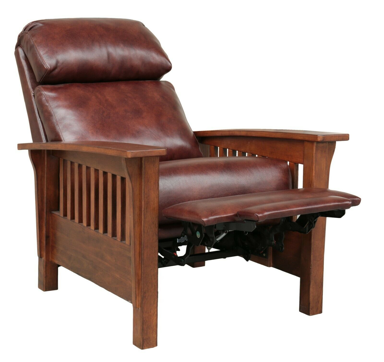 Photo BarcaLounger Mission Manual Recliner Chair Genuine Leather Craftsman Solid Wood