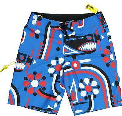 ANALOG Herren Badeshorts Gr. 33 Designdruck Blau Bademode Zip-Tasche