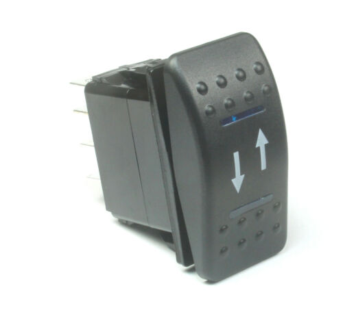 Momentary Rocker Switch DPDT,  20A 12VDC,  Illuminated Blue Lens Up/Down Arrows