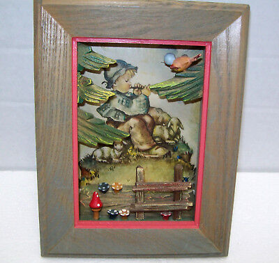 ANRI GERMANY HUMMEL Hanging SHADOW BOX PICTURE Wooden Vintage Birds Trees 3D 5X7