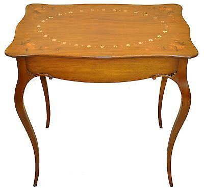 Antique Country French Inlaid Marquetry Parlor, Side, End, Accent Table, c - Marquetry Accents
