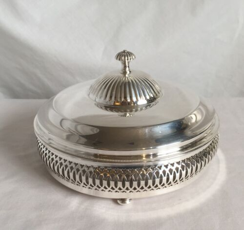 Vintage Crescent Silverware Mfg Silverplate Candy Dish with Divided Glass Insert