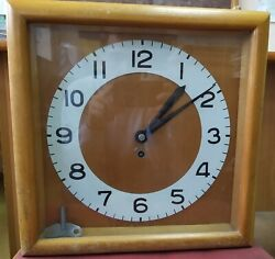 Mechanical rare vintage old wall clock USSR (wooden case) + key for watch clock