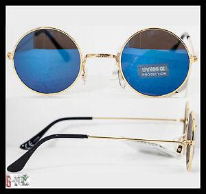 Occhiali da sole uomo donna fashion lenti tonde specchio - Occhiali specchio blu ...