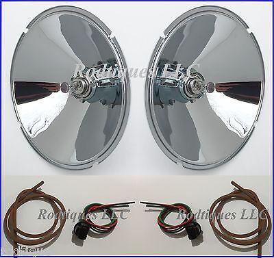 "9 1/4"" 1932 Ford 6 Volt Headlight Brass Chrome Reflectors Halogen Headlights 6v"