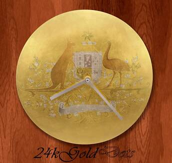 23ct Gold Luxury Wall Clock 12'' - Commonwealth Coat of Arms Footscray Maribyrnong Area Preview