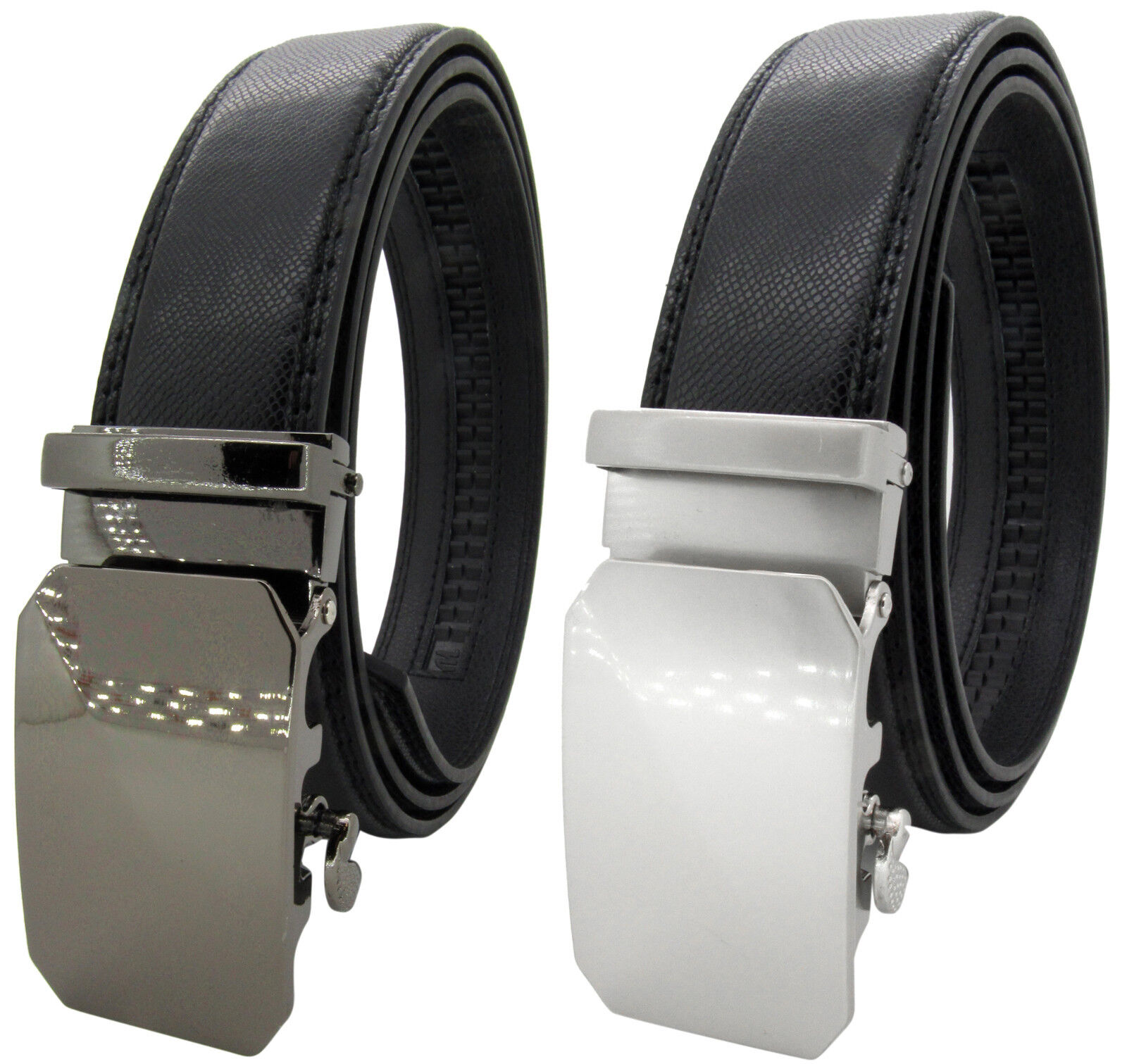 Men Genuine Leather Automatic Ratchet Click Lock Buckle Belt Designer Style:CA02 Belts