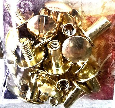 "10 Pack 3/8"" SOLID BRASS CHICAGO SCREWS 1291-01 Tandy Leather Belt Screw Post"