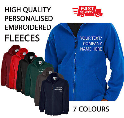 Custom Personalised HQ Fleece Jacket Work Wear Embroidered with Company TEXT