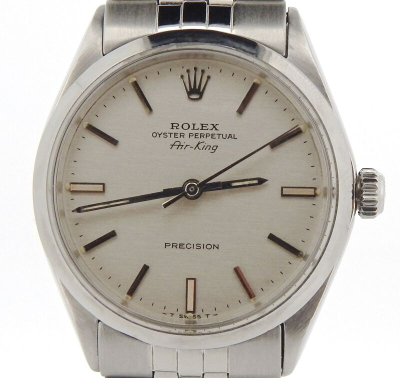 Rolex Air King Precision Mens Stainless Steel Watch Silver Dial Jubilee 5500