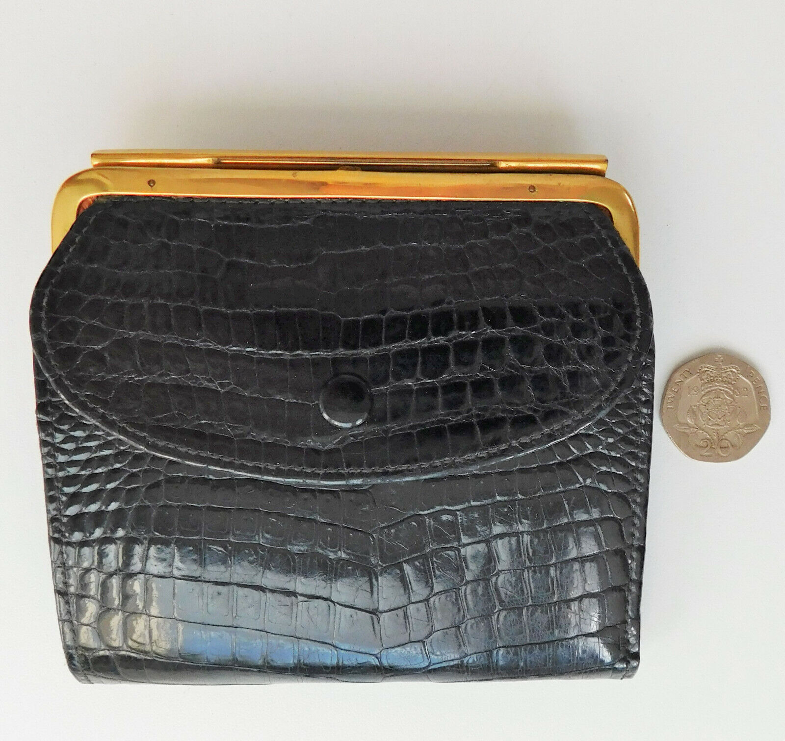 Black polished leather purse ladies wallet snakeskin good quality