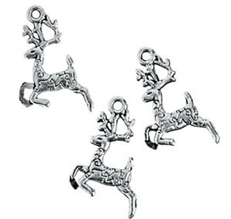 12 Silver REINDEER CHARMS Holiday Craft jewelry 20mm