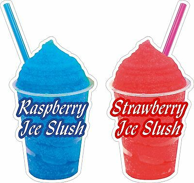 Slush Raspberry and Strawberry  Stickers x2 one of each DECAL CUT UV LAMINATED