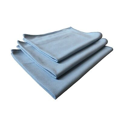3pk Real Clean 16x16 Microfiber Blue Window Glass Towels For