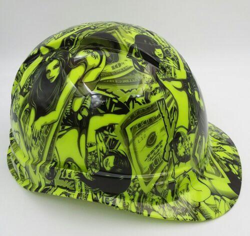 Hard Hat custom hydro dipped , OSHA approved HUSTLER GIRLS LIME GREEN 2