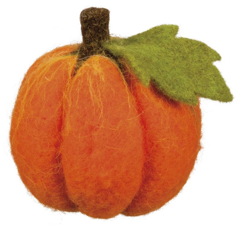 PBK Fall Decor - Felt Orange Pumpkin Sitter Small