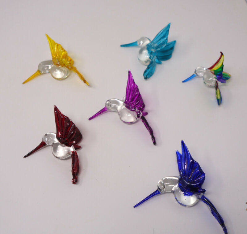Lot of 6 Blown Art Glass Hand Painted Christmas Hummingbird Ornaments