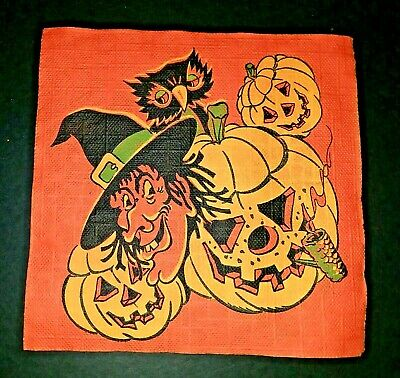 Vintage *UNUSED* Halloween Napkin: Witch, Owl, Jack-O-Lantern With Corn Cob Pipe