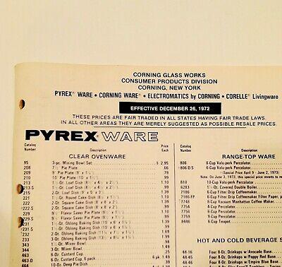 Vintage 1972 Pyrex Dealers Retail Price List Catalog Advertising RARE