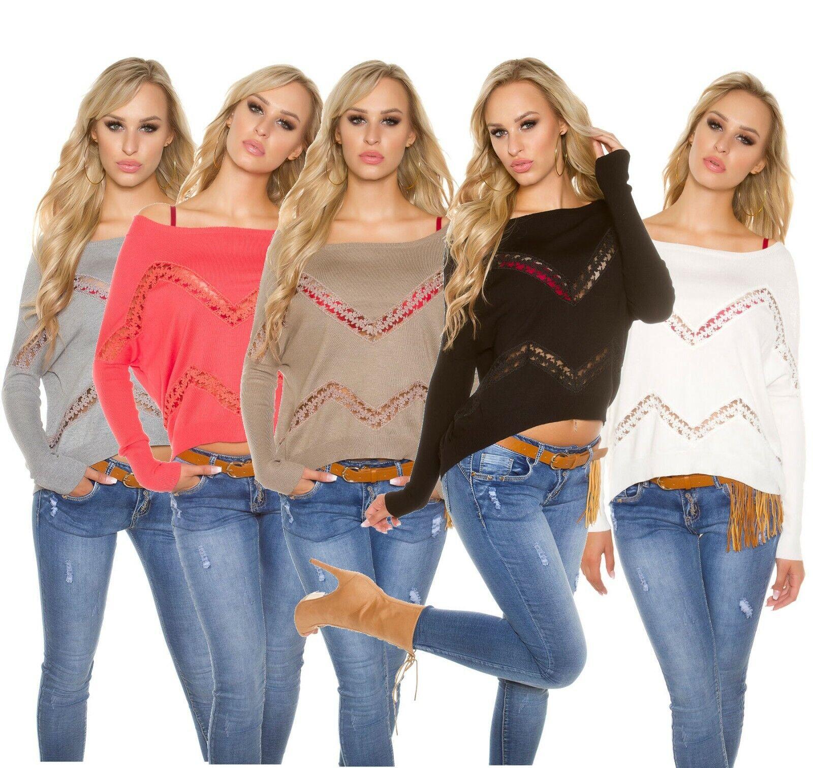 Trendy Koucla Oversize Pullover mit Spitze und Strass, one-size 36/38/40