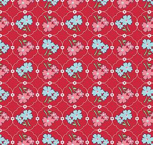 Flowers Vintage Happy Red 100% Cotton Fabric Children Girls Riley Blake 1/2 mtr