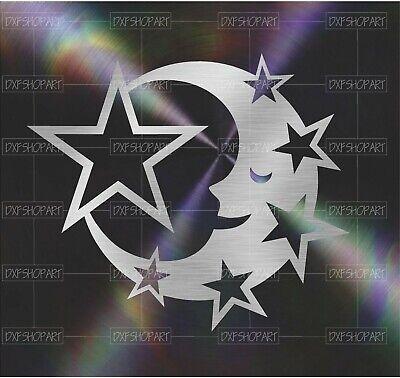 Dxf Cnc Plasma Laser Cut Ready Vector Star Moon 345 Digital Art Wall Art