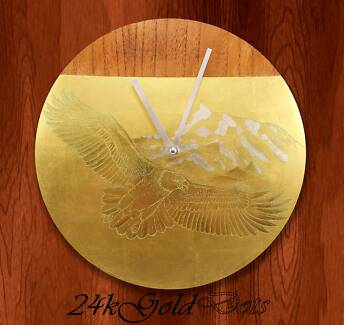 22k Gold Luxury Wall Clock 12''- Eagle Flying Over The Mountain Footscray Maribyrnong Area Preview