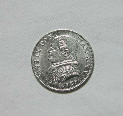 VATICAN CITY. SILVER 5 SOLDI, 1866. POPE PIUS IX.