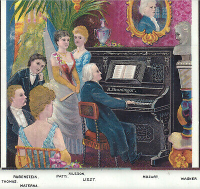 Franz Liszt Shoninger Piano Organ Factory View Rubinstein Patti Advertising Card