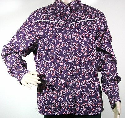 (Angel Ranch Western Cowgirl Lace Trim Rodeo Shirt Sz L Womens Purple Paisley)