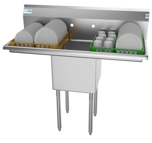 1 Compartment NSF Stainless Steel Commercial Prep - Utility Sink 2 Drainboards