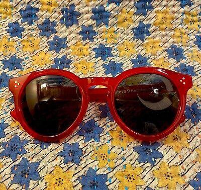 Illesteva Italian Handmade Womens French Acetate Round Cherry Red Sunglasses