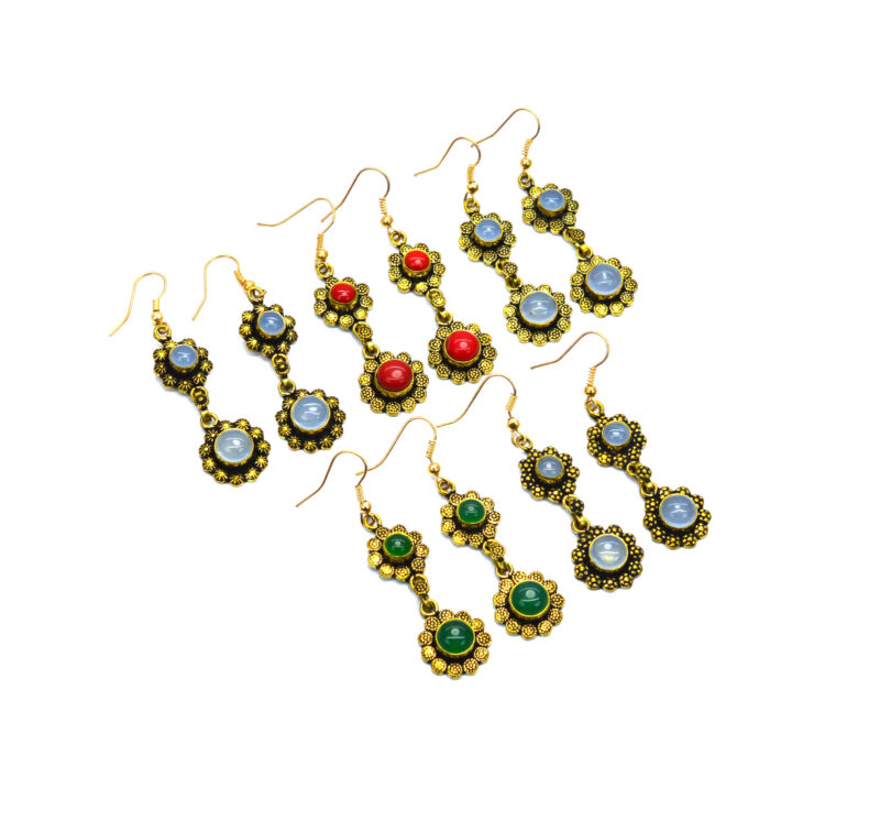 WHOLESALE 5PR SOLID BRASS RED CORAL AND MIX STONE HOOK EARRING LOT 1 O770