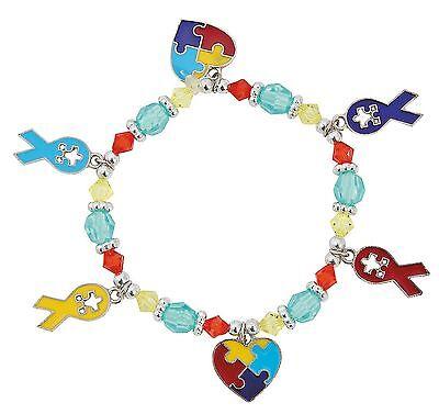 12 Autism Awareness Charm Bracelets Craft kits Puzzle Ribbon Fundraiser - Autism Awareness Ribbon Charm