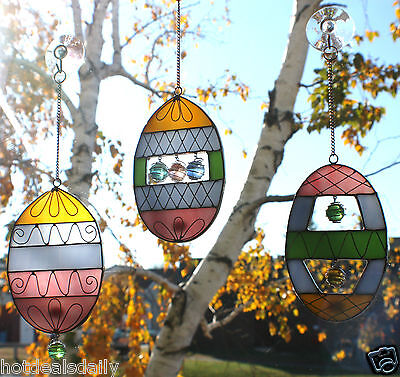 SET OF 3 STAINED GLASS OVAL SUNCATCHERS TIFFANY STYLE MARBLES & WIRE EASTER EGGS
