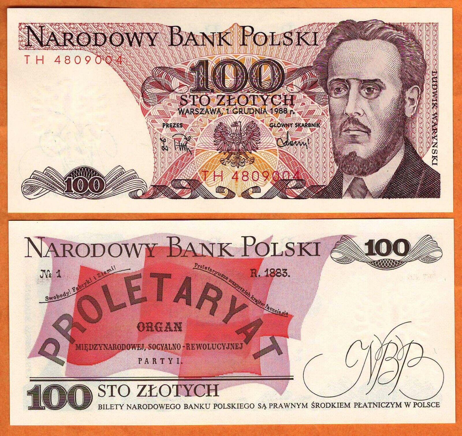 Poland 100 Zlotych 1988 P-143e Banknotes UNC